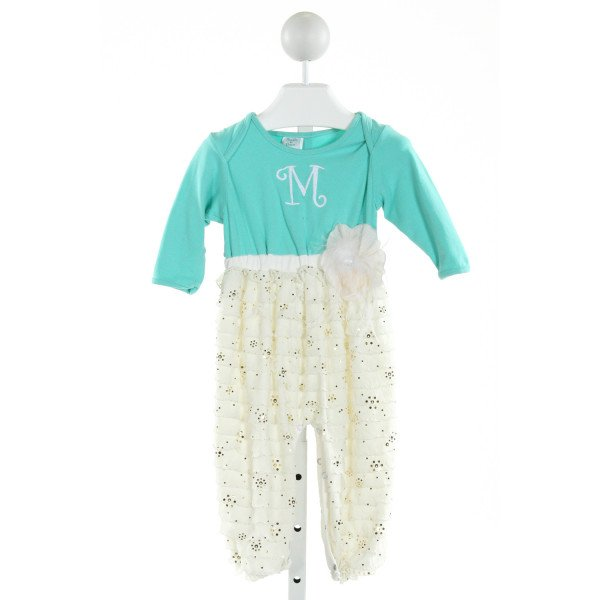 PEACHES 'N CREAM  LT BLUE   SEQUINED KNIT ROMPER WITH RUFFLE