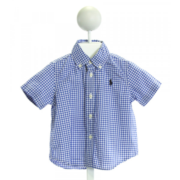 RALPH LAUREN  BLUE  GINGHAM  CLOTH SS SHIRT