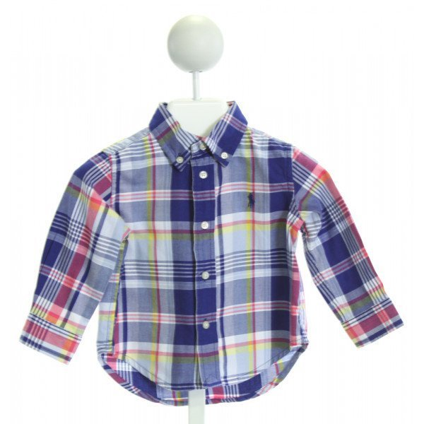 RALPH LAUREN  BLUE  PLAID  CLOTH LS SHIRT