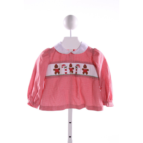 SILLY GOOSE  RED  GINGHAM SMOCKED CLOTH LS SHIRT