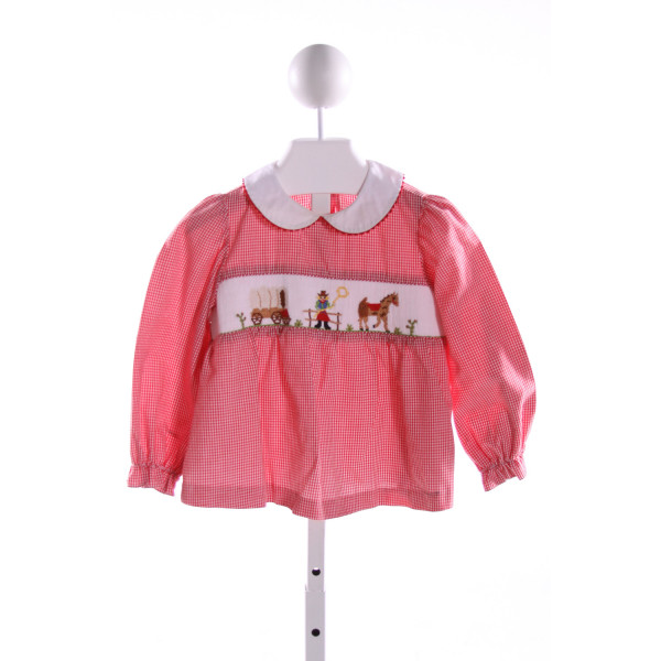 SILLY GOOSE  RED  GINGHAM SMOCKED CLOTH LS SHIRT WITH RIC RAC