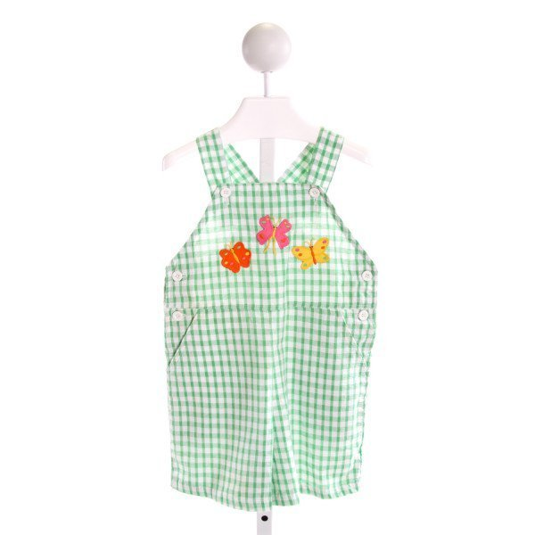 KELLY'S KIDS  GREEN SEERSUCKER GINGHAM EMBROIDERED ROMPER