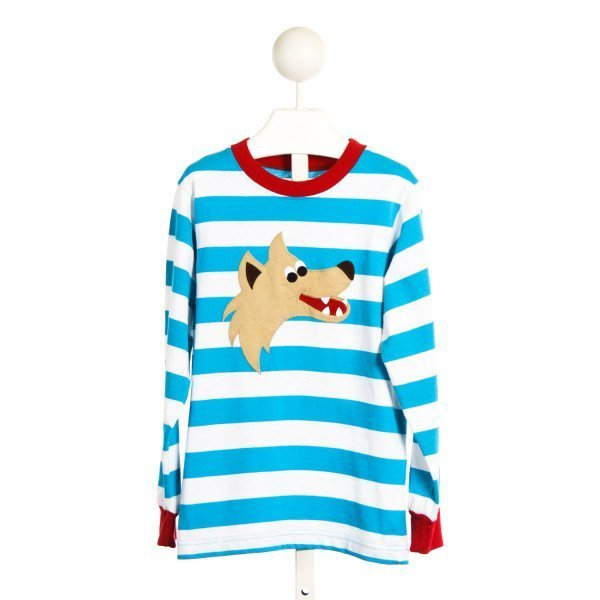 KELLYS KIDS TURQUOISE STRIPED KNIT SHIRT WITH WOLF APPLIQUE *SIZE 7-8
