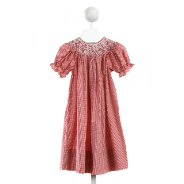 SWEET ANGELA  RED  GINGHAM SMOCKED DRESS WITH RUFFLE