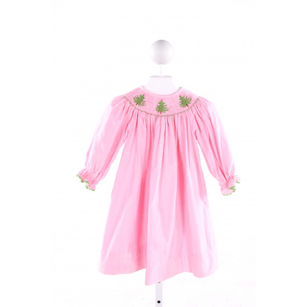 AMANDA REMEMBERED  LT PINK CORDUROY  SMOCKED DRESS WITH RIC RAC