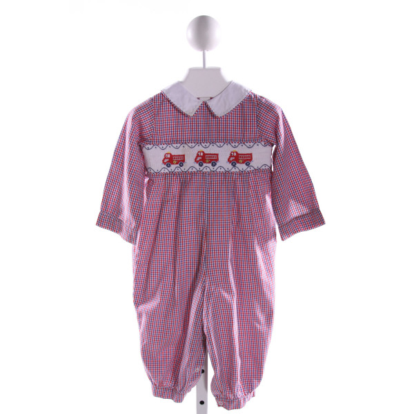 LITTLE ENGLISH  MULTI-COLOR  GINGHAM SMOCKED LONGALL/ROMPER