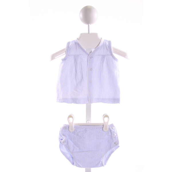 LULLABY SET  LT BLUE SEERSUCKER STRIPED  2-PIECE OUTFIT