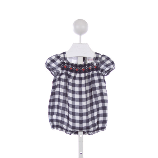 JANIE AND JACK BLUE GINGHAM BUBBLE WITH APPLE SMOCKING *SIZE 3-6 MONTHS