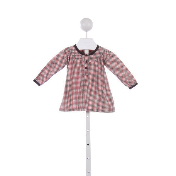 POLARN O. PYRET BROWN AND RED GINGHAM DRESS *SIZE 4-6 MONTHS
