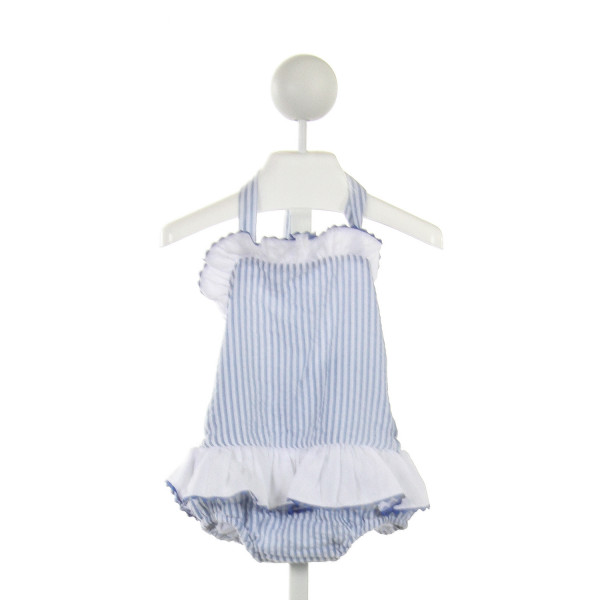 SMOCKING BUG  BLUE SEERSUCKER STRIPED  1-PIECE SWIMSUIT WITH RUFFLE