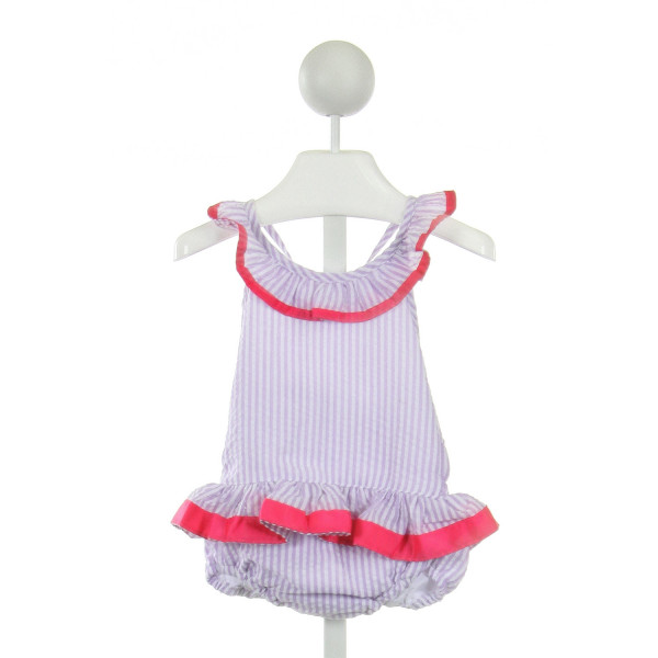 SMOCKING BUG  MULTI-COLOR SEERSUCKER STRIPED  1-PIECE SWIMSUIT WITH RUFFLE