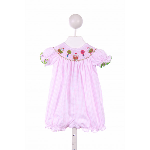 CANDYLAND  PINK  CHECK SMOCKED BUBBLE