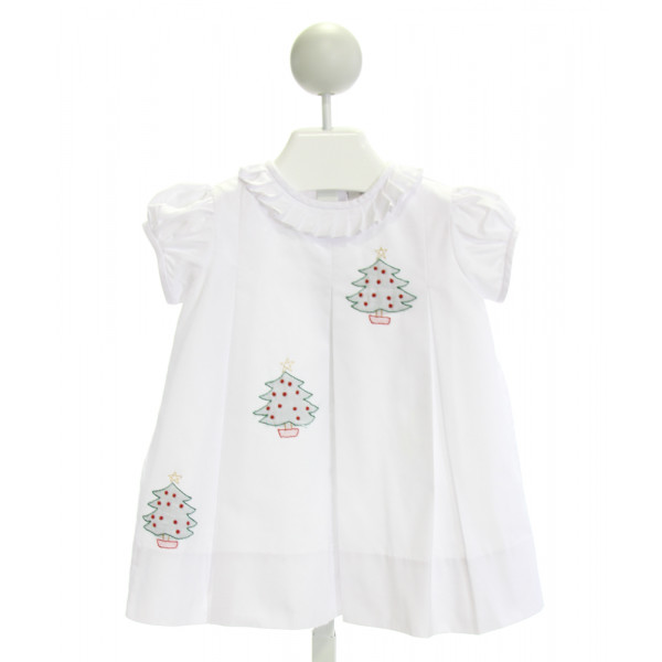 THE PROPER PEONY  WHITE   EMBROIDERED DRESS WITH RUFFLE