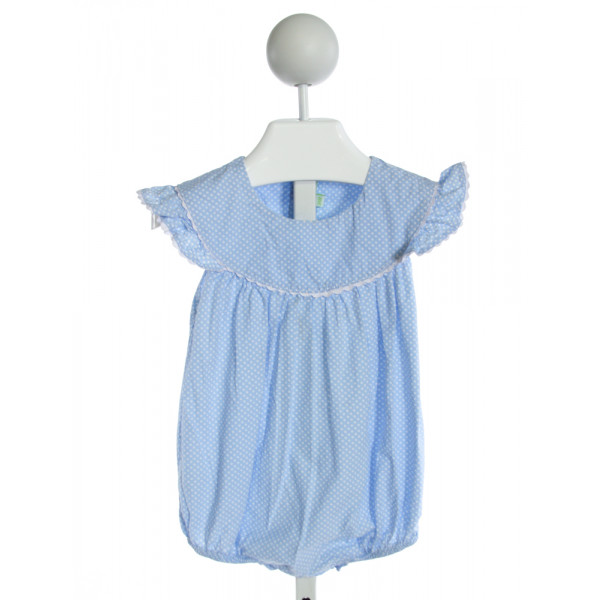 MUGUET COLLECTION  BLUE  POLKA DOT SMOCKED BUBBLE WITH RIC RAC