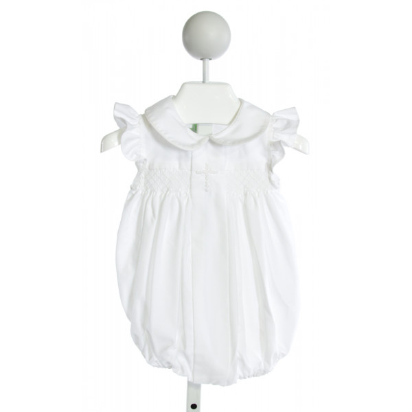 MUGUET COLLECTION  WHITE   SMOCKED BUBBLE WITH RUFFLE
