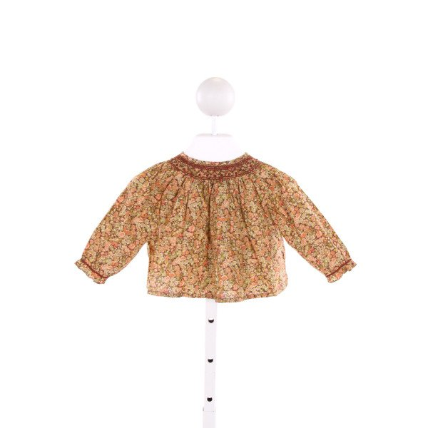BONPOINT  MULTI-COLOR  FLORAL SMOCKED CLOTH LS SHIRT WITH RUFFLE
