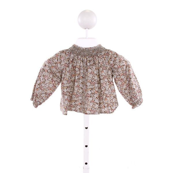 BONPOINT  MULTI-COLOR  FLORAL SMOCKED CLOTH LS SHIRT