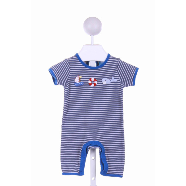 ALBETTA  BLUE  STRIPED EMBROIDERED KNIT ROMPER