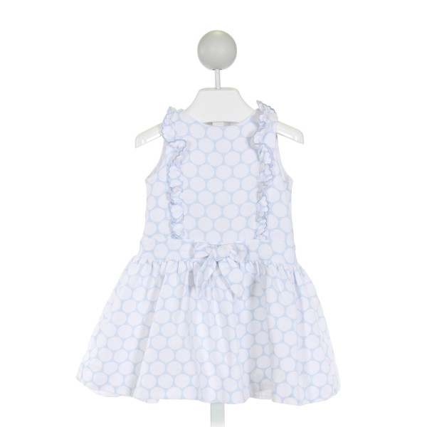DANI  LT BLUE PIQUE POLKA DOT  DRESS WITH RUFFLE