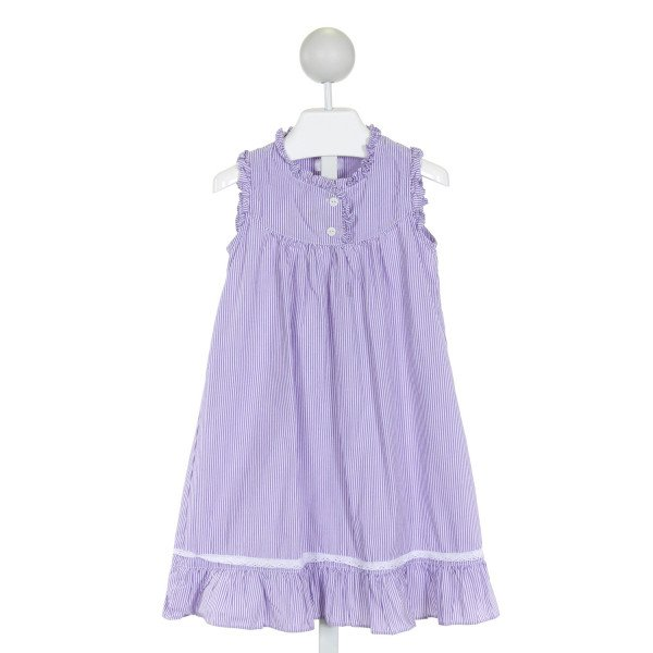 DONDOLO  PURPLE  STRIPED  DRESS WITH RUFFLE