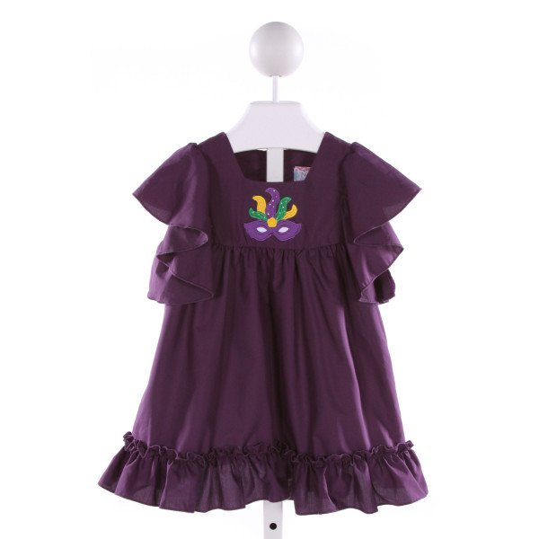 NOLA SMOCKED   PURPLE   EMBROIDERED DRESS WITH RUFFLE