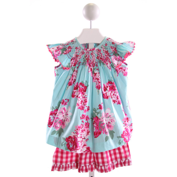 I PLAY  MULTI-COLOR  FLORAL SMOCKED 2-PIECE OUTFIT WITH RIC RAC