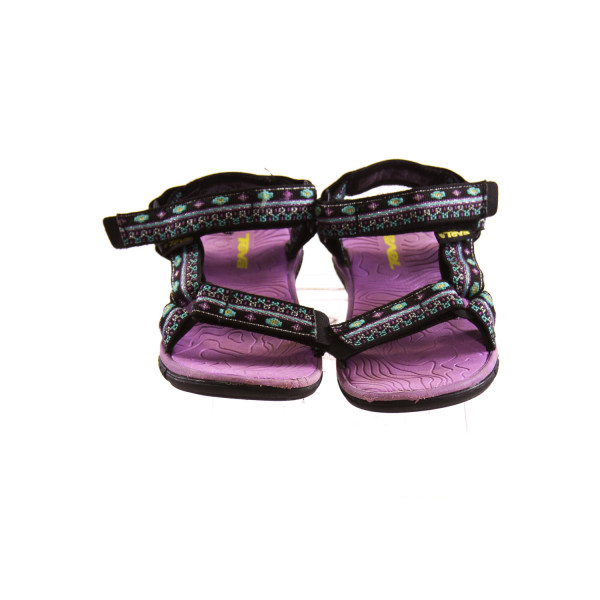 TEVA PURPLE AND BLACK SANDALS *SIZE 10, VGU - VERY MINOR SCUFFING AND DISCOLORATION