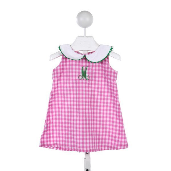 "EMILY LACEY PINK AND WHITE CHECK DRESS WITH GREEN RIC RAC AND MONOGRAMMED ""M"""