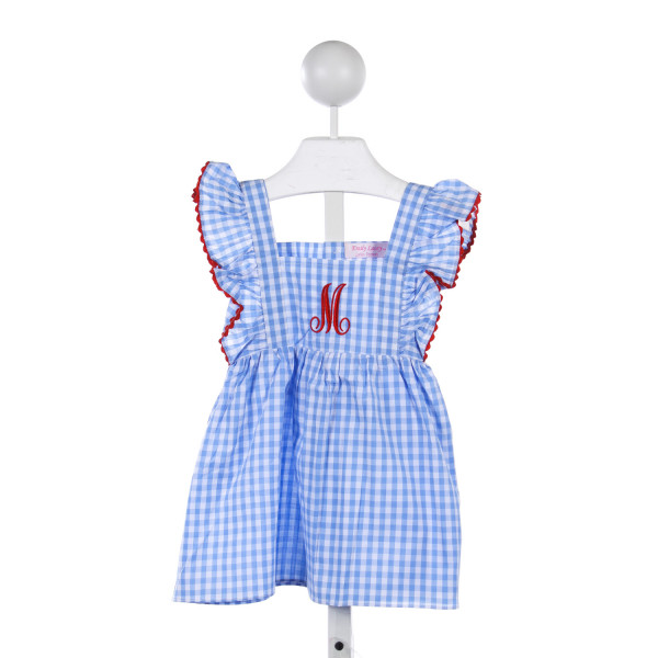 "EMILY LACEY BLUE AND WHITE CHECK PINAFORE DRESS WITH RED RIC RAC AND MONOGRAMMED ""M"""