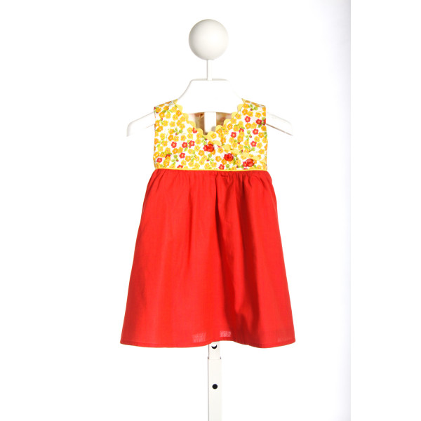 WINDCHARMER RED DRESS WITH YELLOW FLORAL PRINT