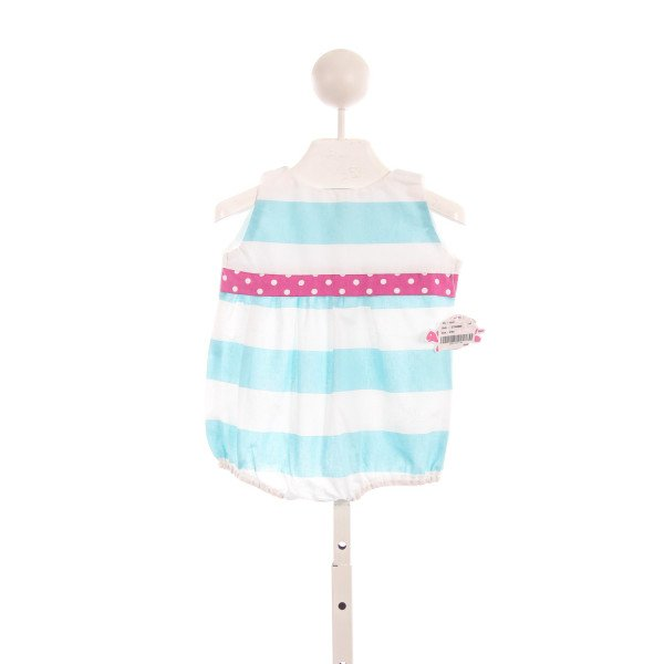 LOLLY WOLLY DOODLE AQUA AND WHITE STRIPED BUBBLE WITH PINK TRIM *SIZE 6/9M