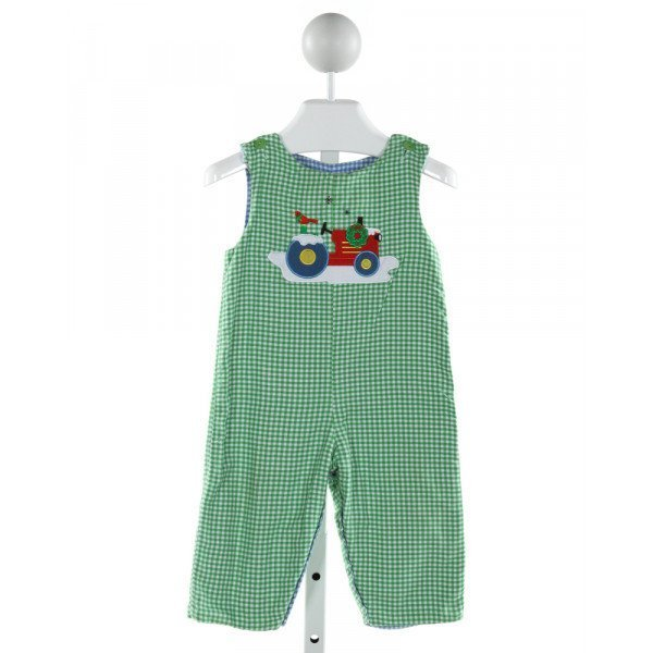 GLORIMONT  GREEN  GINGHAM EMBROIDERED LONGALL/ROMPER