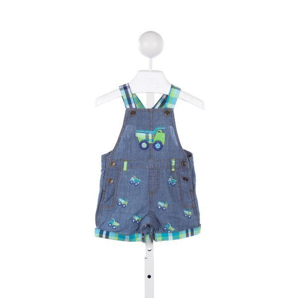 NURSERY RHYME DENIM AND BLUE/GREEN PLAID OVERALLS WITH TRUCK