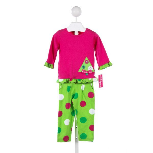 MOLLY & MILLIE HOT PINK AND GREEN KNIT SET WITH CHRISTMAS TREE