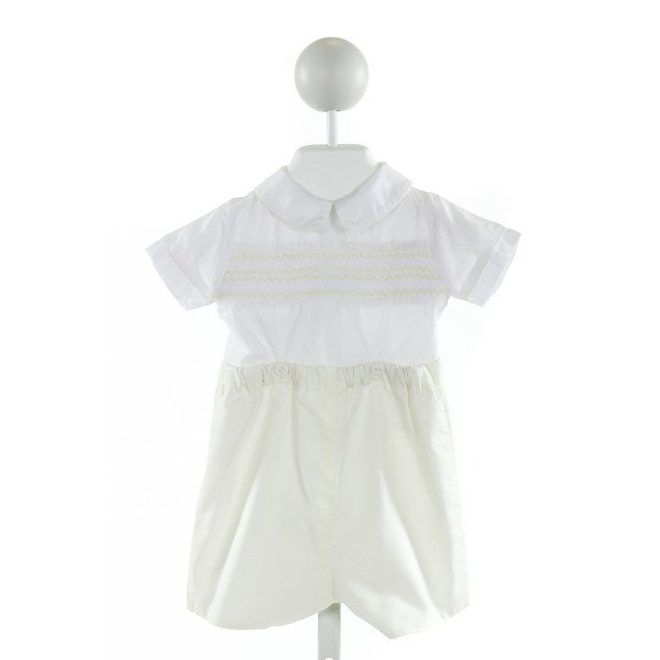 A CHARLESTON CHILD  WHITE   SMOCKED JOHN JOHN/ SHORTALL