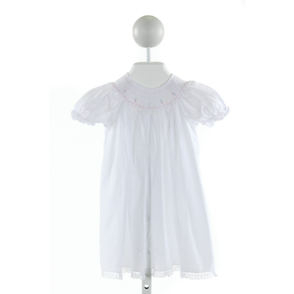 TRICIA  WHITE   SMOCKED DRESS WITH LACE TRIM