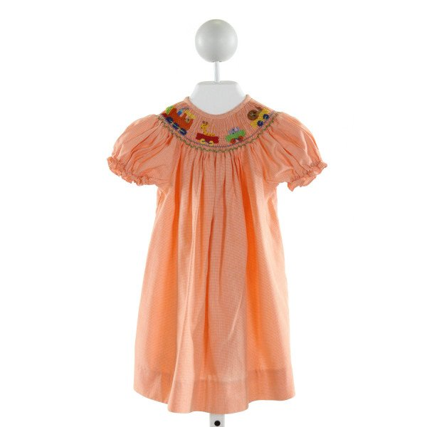 BE MINE  ORANGE  MICROCHECK SMOCKED DRESS WITH RUFFLE