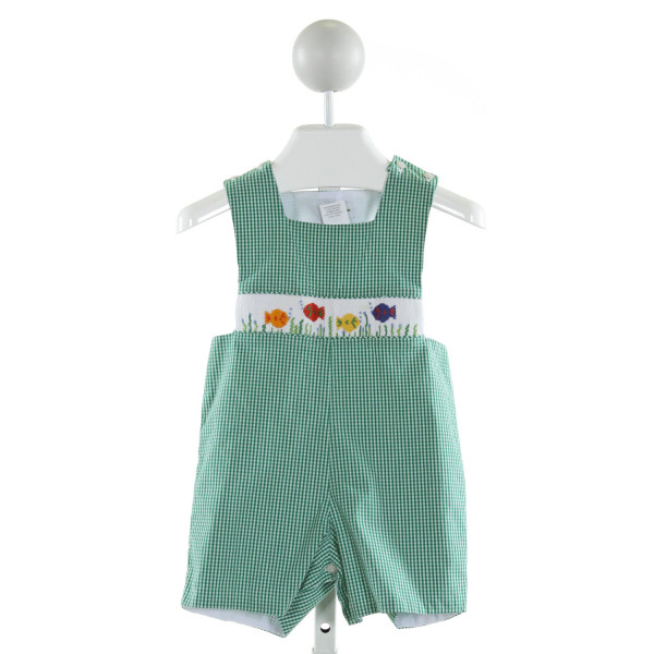 COLLECTION BEBE  GREEN  GINGHAM SMOCKED JOHN JOHN/ SHORTALL