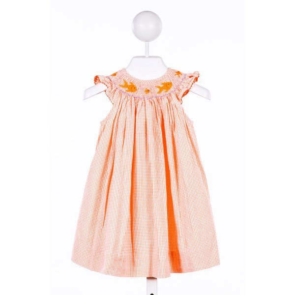 COLLECTION BEBE  ORANGE SEERSUCKER GINGHAM SMOCKED CASUAL DRESS