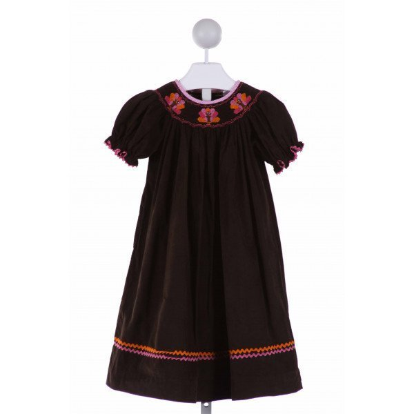 SHRIMP & GRITS  BROWN CORDUROY  SMOCKED DRESS WITH RIC RAC