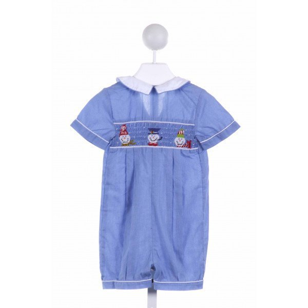 ORIENT EXPRESSED  BLUE  GINGHAM SMOCKED LONGALL/ROMPER