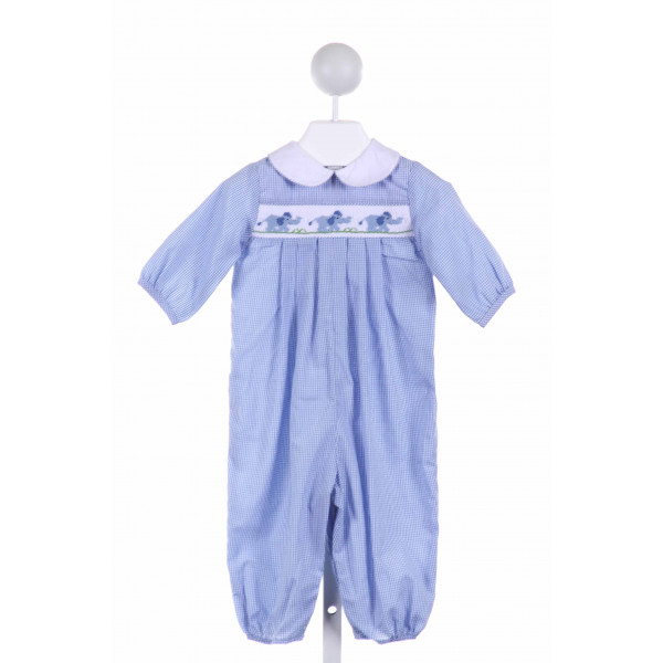 BAILEY BOYS  BLUE  GINGHAM SMOCKED LONGALL/ROMPER
