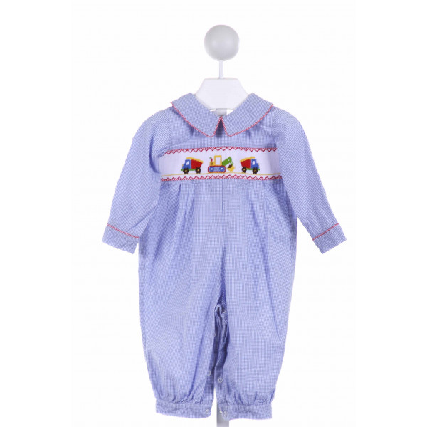 SHRIMP & GRITS  BLUE  GINGHAM SMOCKED LONGALL/ROMPER