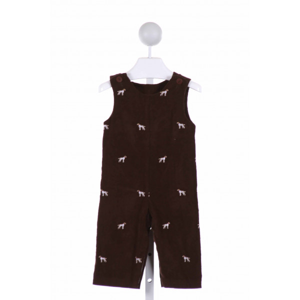 RAGSLAND  BROWN CORDUROY  EMBROIDERED LONGALL/ROMPER