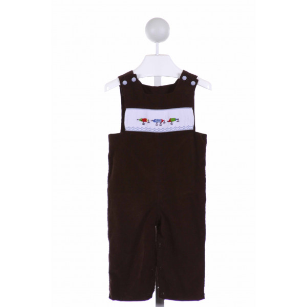 SHRIMP & GRITS  BROWN CORDUROY  SMOCKED LONGALL/ROMPER