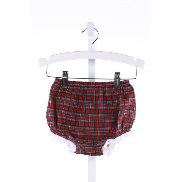 THE BEAUFORT BONNET COMPANY  MULTI-COLOR  PLAID  BLOOMERS WITH LACE TRIM