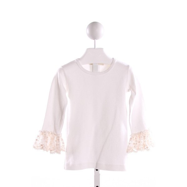 NAIN & JOE  IVORY    KNIT LS SHIRT WITH LACE TRIM