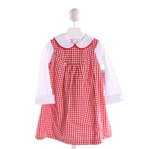 HANNAH KATE  RED  GINGHAM  DRESS WITH RIC RAC