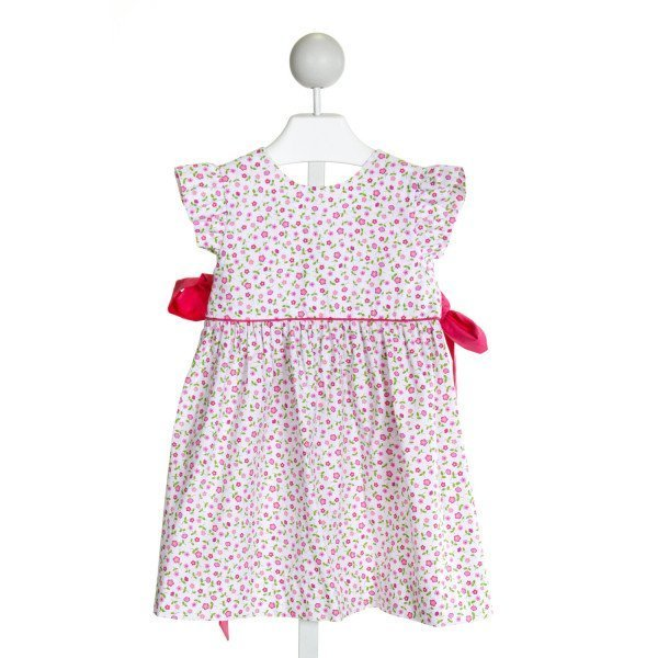 MARY & GRACE  WHITE SEERSUCKER FLORAL  DRESS WITH RUFFLE