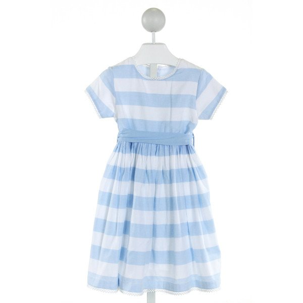 COTTON KIDS  LT BLUE  STRIPED EMBROIDERED DRESS